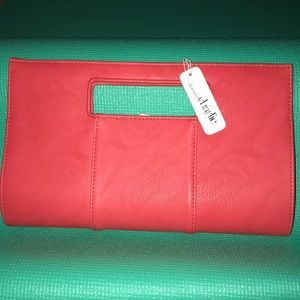 Coral pink clutch